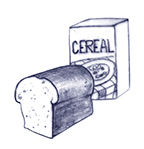 Drawing of a loaf of bread and a box of cereal.